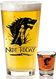 Game Of Thrones Merchandise Mug - Not Today Beer Glass + Complimentary Shot Glass Arya Stark GOT Cup - Funny Birthday Gifts For Women And Men - House Stark