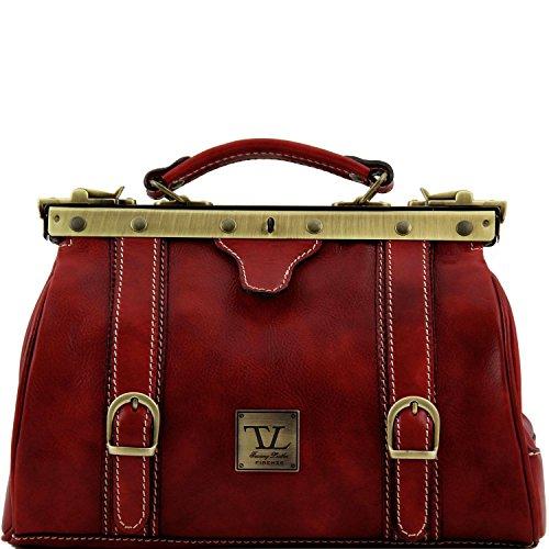 Tuscany Leather - Monalisa - Maulbügel - Arzttasche aus Leder Dunkelbraun - TL10034/5 Rot