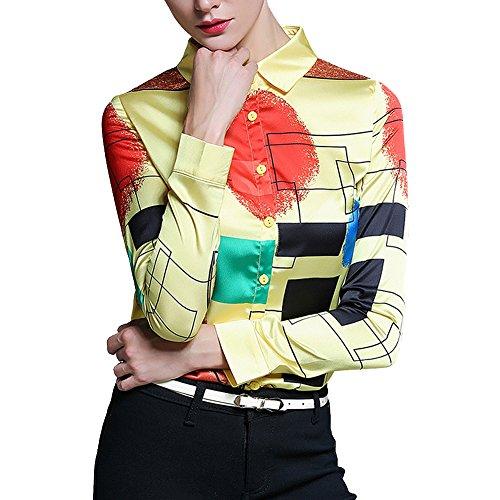Feixiang - Camisas - Manga Larga - para mujer amarillo claro