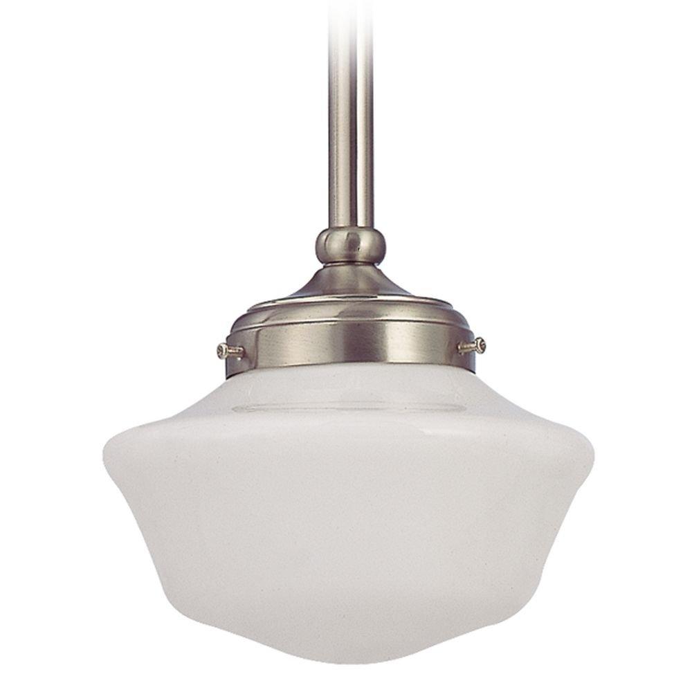 8-Inch Schoolhouse Mini-Pendant Light in Satin Nickel
