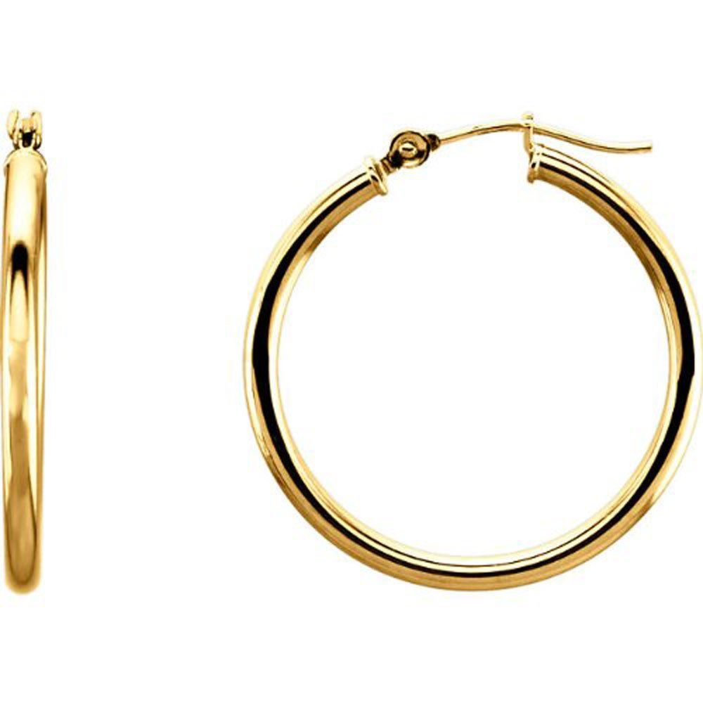 14K Gold Hoop Earrings w/ Click-Down Clasp, (2mm Tube) (20mm - Yellow Gold)