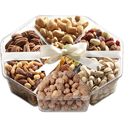 Broadway Basketeers Gourmet Food Fresh Nuts & Dried Fruit Gift Basket - Elegant 6-Section Assortment Tray (Deliver Champagne Gift)