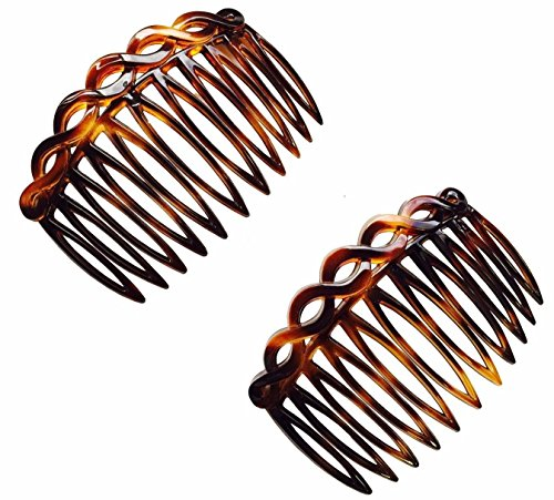 Parcelona French 2 Pieces Open Curved Celluloid Shell Side Hair Combs 3 Inch 2 Pcs
