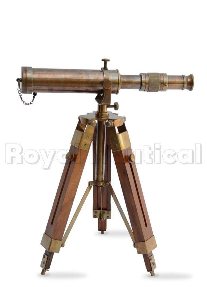 Antique House~ Vintage Balcony Handmade Telescope with Tripod Marine Antique Design Tabletop Desk Pirate Scope Spy Glass Telescope Halloween