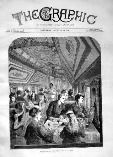 (old-print Print 1870 Dining Car Union Pacific Railway Train Restaurant 193M101)