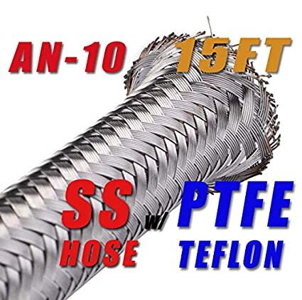 """10 AN10 12.95mm Braided Stainless Steel PTFE  Fuel Line Hose 15FT 1//2/"""""""