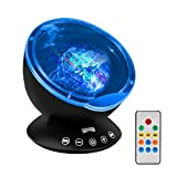 [Upgraded Model] Ecandy Remote Control Ocean Wave Projector,Aurora Night Light Projector with Build-in Speaker, Mood Light for Baby Nursery, Adults and Kids Bedroom, Living Room (Black)