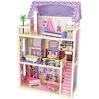 KidKraft 65092 Kayla Puppenhaus aus Holz mit Zubehör für 30cm große Puppen mit 10 Accessoires und 3 Spielebenen