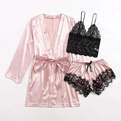 Balakie Women's 3pcs Sleepwear Floral Lace Trim Satin Cami Top Sexy Lingerie Pajama Set with Robe Pink