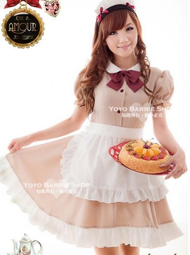 Maid cafe wind maid cosplay maid cafe mocha color costume costumes Gothic Lolita style (japan import) by Cos Style - Cafe Maid Costume