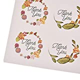 HATABO Gift Thank You Sealing Stickers 120pcs 10sheet Flower Design Sticker Labels Creative Paper Stickers Thank You Sticker Seals Labels for Gifts