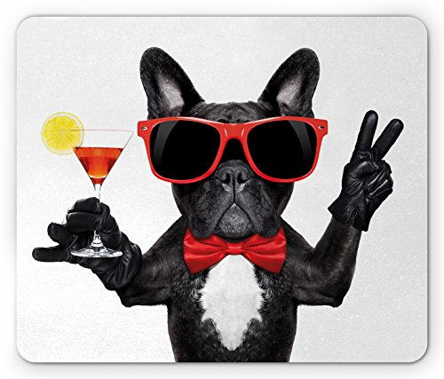 French Bulldog Mouse Pad - Lunarable Funny Mouse Pad, French Bulldog Holding Martini Cocktail Ready for The Party Nightlife Joy Print, Standard Size Rectangle Non-Slip Rubber Mousepad, Black Red White