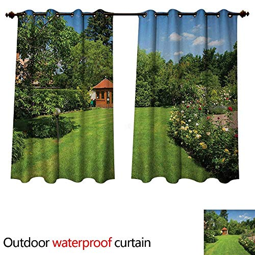 TRTK Garden Outdoor Curtains for Patio Sheer Peaceful Countryside Landscape with Blooming Roses Brick Path and a Small Gazebo W96 x L108
