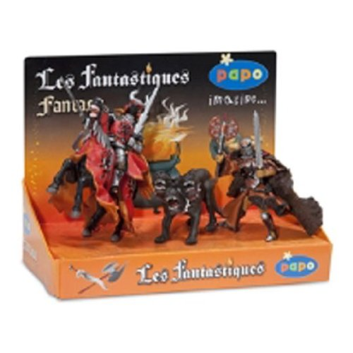 Display Papo Box - Papo Display Box Fantasy - Demon of Darkness and Horse, Viking Warrior, Cerberus
