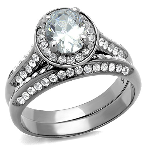 Halo Oval Cubic Zirconia Stainless Steel Bridal Wedding Ring Set (8)