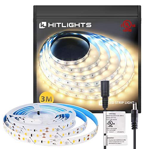 HitLights Warm White LED Strip Lights, UL-Listed Premium High Density 2835 LED Lights - 10 Feet, 180 LEDs, 3000K, 1100 Lumen/M, 3 Watts/Foot, 12V DC LED Tape Light