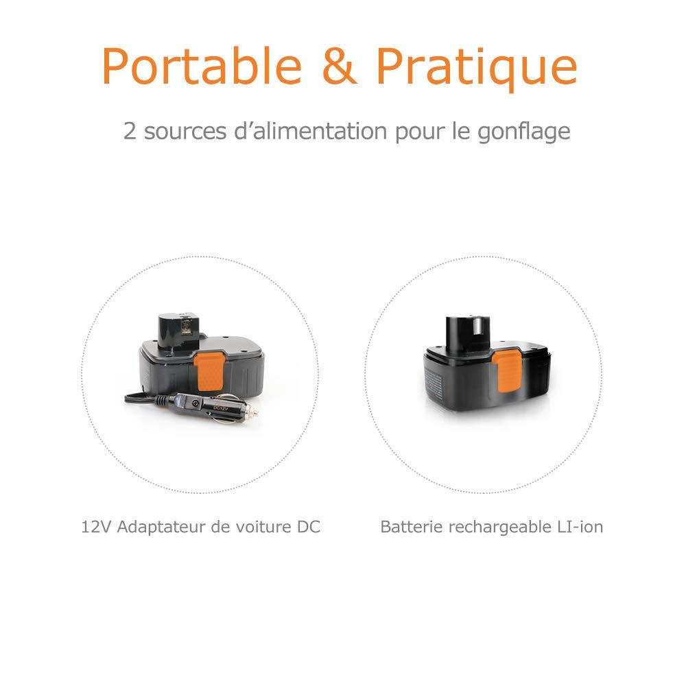 Autowit Compressore daria portatile gonfiatore di pneumatici senza fili digitale con schermo LCD compressore auto a batteria di litio 12 V ricaricabile