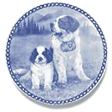 Saint Bernard - Dog Plate made in Denmark from the finest European Porcelain. Premium Quality and Design from Lekven. Perfect Gift For all Dog Lovers. Size - 7.61 inches.