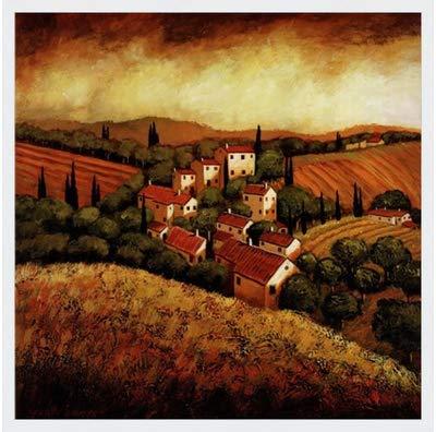 Poster Palooza Framed Tuscan Hillside Village- 24x24 Inches - Art Print (Classic White ()
