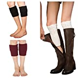 Women Winter Keep Warm Knitted Boot Socks Cuff Topper Liner Leg Warmer Pack of 3 Pairs,choose your favorite (Style B)