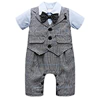 Baby Boy Short Sleeve With Bowtie Checked Gentleman Romper Toddler Outfit Clothing Set 1pcs Jumpsuit