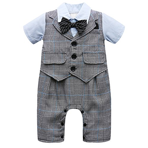 Infant Suit (Baby Boy Short Sleeve With Bowtie Checked Gentleman Romper Toddler Outfit Clothing Set 1pcs Jumpsuit (Label 70 / 3-6 Months, Blue))