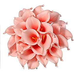 Veryhome 20pcs Lifelike Artificial Calla Lily Flowers for DIY Bridal Wedding Bouquet Centerpieces Home Decor (Coral pink)