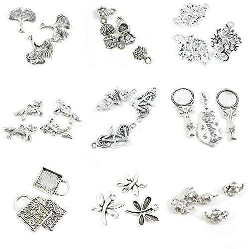 33 PCS Jewelry Making Charms Time Teapot Tea Kettle Pot Dragonfly Square Cabochon Base Blank Guitar Round