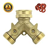 Faucet Adapter for Garden Hose A1005 Heavy Duty Brass Y 2 Way Garden Hose Connector with Complimentary Hose Washer 10 PCS Pack