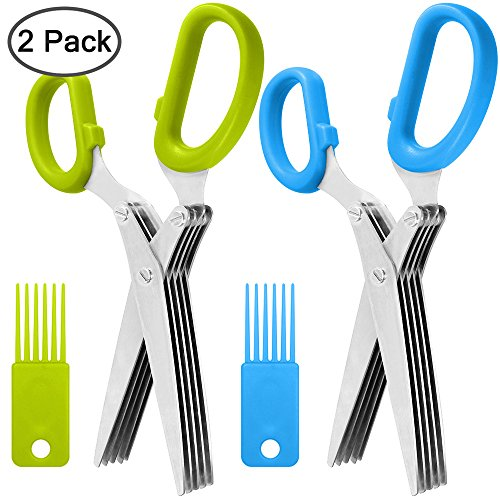 2 Packs Stainless Steel Herb Scissors, SourceTon Multi-purpose Kitchen Shear with 5 Blades and Cleaning Brush, Ergonomic Design Heavy Duty Durable Culinary Cutter with Sharp ()