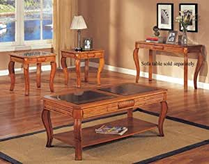 acme carved oak 3 piece glass top coffee table set coffee table and 2 end tables. Black Bedroom Furniture Sets. Home Design Ideas