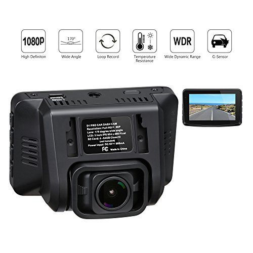"""ROCAM Dash Cam, Dashboard Camera Recorder with Full HD 1080P, 170° Wide Angle Lens, 3"""" LCD, WDR, G-Sensor, Loop Recording, Night Vision, Black"""