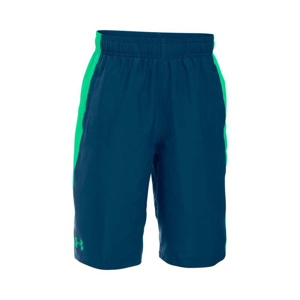 Under Armour Boys' Impulse Woven Shorts, Blackout Navy (997)/Vapor Green, Youth Large by Under Armour