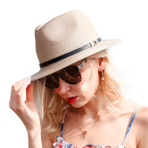 FARSEER Straw Hats Beach Cap Summer Floppy Wide Brim Sun Hat Jazz Cap for Women Khaki