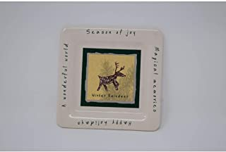 product image for Colonial Candle White Reindeer Pillar Plate