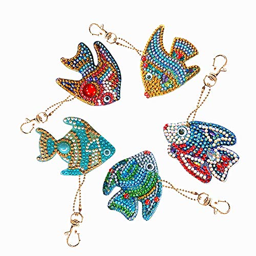 HuaCan 5 Pack DIY 5D Diamond Painting Fishes Keychain Round Drill Keyring Crystal Rhinestone Bag Pendant Cross Stitch Mosaic Arts Craft Paint by Number Kits for Kids Adults