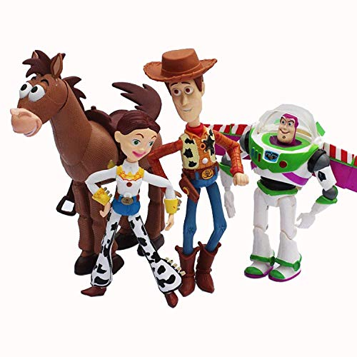 PAPCOOL Set 4 Toy Figures 5 - 7 inch Hot Toys Woody Buzz Lightyear Jessie Hamm Bullseye Mini Small Action Figure Christmas Collectibles Halloween Collectable Gifts Collectible Big Gift for Kids Baby