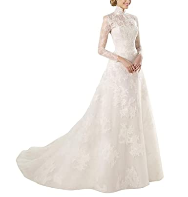 GEORGE BRIDE GEOGE Bride Elegant Stand Collar Lace Long Aemeln ...