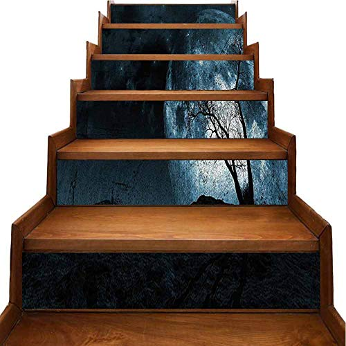 3D Christmas Decorative Stairs Decal Sky Tree Silhouette Gothic Colors Scary sy Background Slate Blue 3D Printing Waterproof Wallpaper for Backsplash and Stair Riser Staircase, W39.3 x H7 inch (Christmas Reddit Wallpaper)