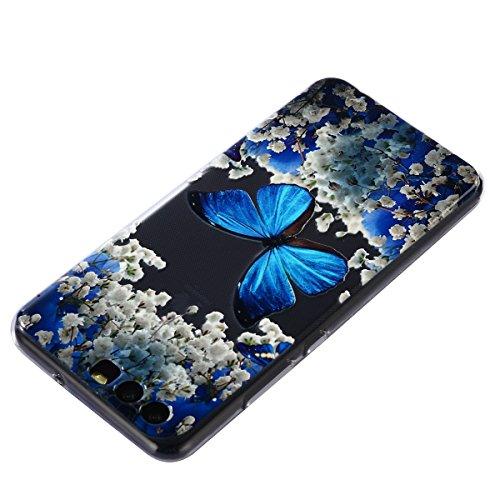 Funda Huawei P10,SainCat Moda Alta Calidad suave de TPU Silicona Suave Funda Carcasa Parachoques Diseño pintado Patrón para Funda TPU Silicona Epoxi goteo prensado Case Cover Caja Suave Gel Shock Abso Mariposa azul