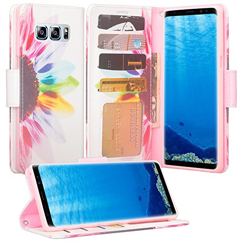 GALAXY WIRELESS FOR Galaxy Note 8 Case Wallet, Samsung Galaxy Note 8 Phone Case, Wrist Strap Flip Folio [Kickstand] Pu Leather Wallet Case with ID&Credit Card Slot For Samsung Note 8 - Sun Flower