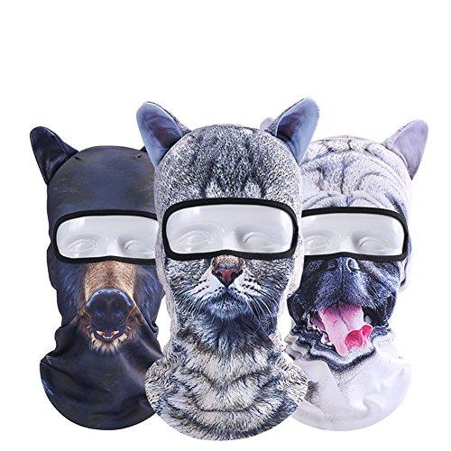 Runtlly Animal Ears Balaclava Unisex Animal Face 3D Print Ski Balaclava Full Face Cycling Mask Winter Fleece Ski Mask Halloween Party 07 08 09 -