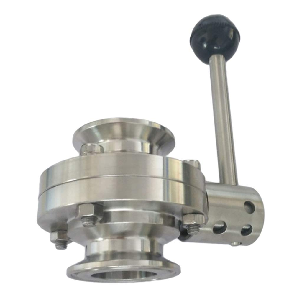Flameer 0.98 inch Tri Clamp Sanitary Butterfly Valve Stainless Steel Material for Food, Brewery, Dairy, Brewing