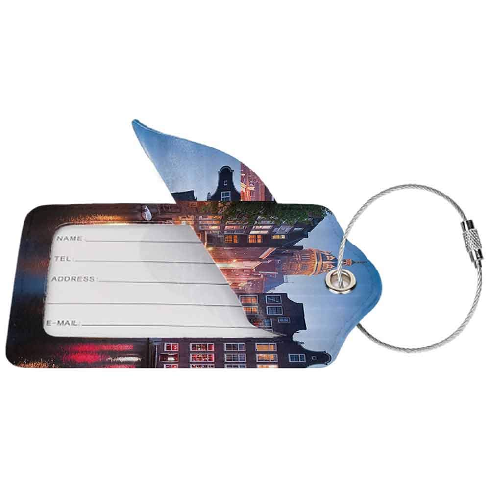 Waterproof luggage tag Wanderlust Decor Collection Night Time Illuminations of The Neo Renaissance St Nicholas Church in Amsterdam Picture Soft to the touch Orange W2.7 x L4.6