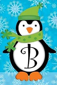 Pingüino Monograma B–Jardín de bandera de decorativa de monograma Tamaño 12pulgadas x 18pulgadas