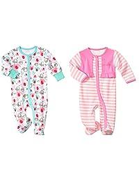 LJ Baby-Girls Newborn Footed Sleep & Play Two Pack