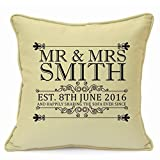 Presents Gifts For Him Her Husband Wife Girlfriend Boyfriend Couples Valentines Day Wedding Anniversary Christmas Xmas Vintage Mr & Mrs Sign 1St 25Th 50Th Years Golden Ruby Cushion Cover 18 Inch 45