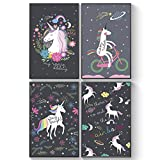 Pillow & Toast Unicorn Posters for Girls Bedroom, Girls Room Decor, Outer Space Unicorns Wall Art for Kids Bedroom Decorations, Unicorn Gifts for Girls 11x17 in