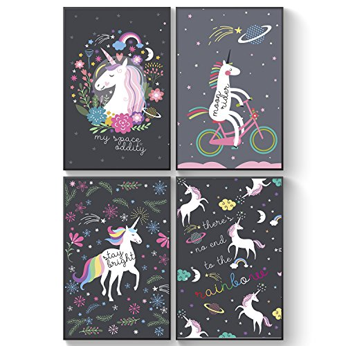Pillow & Toast Galaxy Unicorns Posters FOUR Set for Girls Bedroom: Unicorns Wall Art 11 17'' – Hanging Stripes Included, Toxic-free and Acid-Free pH Neutral Paper. (Wall Set Kids Art)