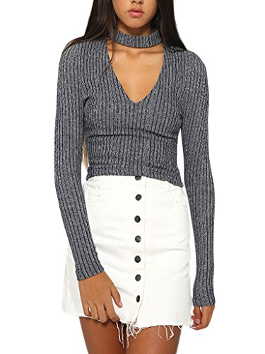 PERSUN Womens V neck Knitted Sweater